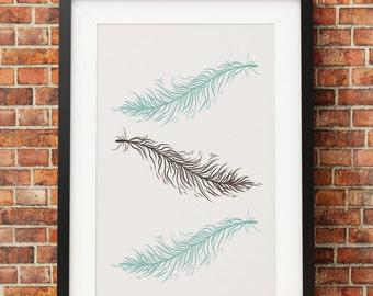 Shabby Chic Feathers Print - Jpeg - A4 + Letter + 8x10 - INSTANT DOWNLOAD - Digital Print - Wall Art - Printable Poster