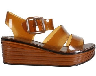 FREE SHIPPING! Deadstock 90s Style Wedge Jelly ~ brown