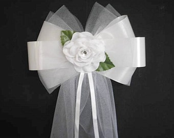 Church Pew End Bows - 10 Elgant Rose & Fluffy Tulle