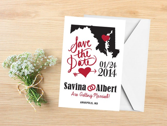 Wedding Invitations In Maryland: Items Similar To State Save The Date, Save The Date