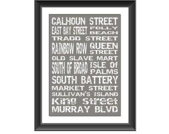 Charleston Art Print, Charleston Art Poster, Charleston Typography, Charleston Places, South Carolina Places, Charleston Print, Gift