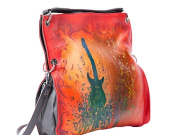 Hand Painted Fine Grain Leather Purse - Alvara Have Guitar Will Travel Red Leather Purse by Lyria.ro