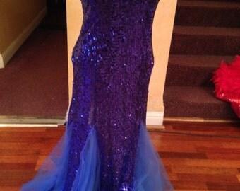 Blue sequin ballroom dance dreess