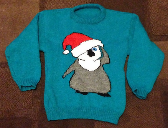 Christmas Penguin Jumper Knitting Pattern : Childrens & Adults Christmas Penguin Front And Back Jumper / Sweater Knit...