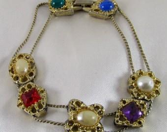 Simulated Jewels Vintage Slide Bracelet