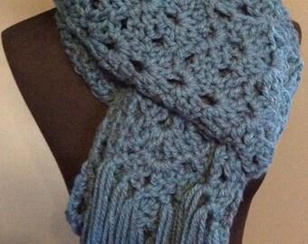 Handmade chunky, extra long teal scarf