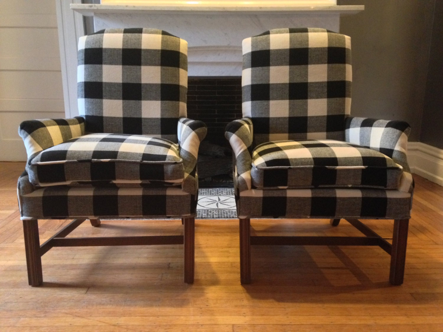 Buffalo Check Arm Chairs