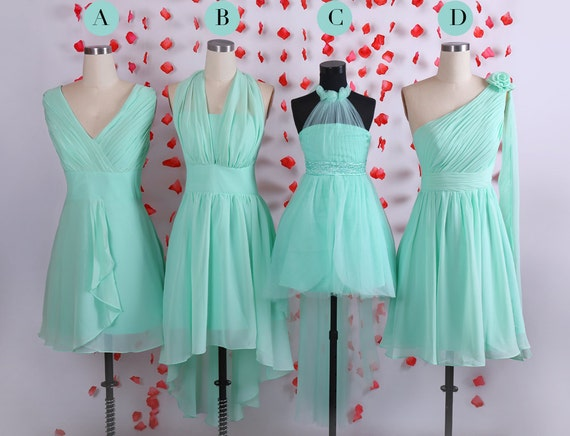 Simple mint short chiffon bridesmaid dresses bridal by for Junior wedding guest dresses for summer