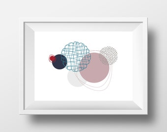 Modern Art Print, Floating Circles, Graphic Wall Art, Instant Download, Wall Decor, Wall Art, Printable Art, Poster, Handmade