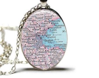 Boston Map Pendant Map Necklace Map Boston Jewelry Map of Boston