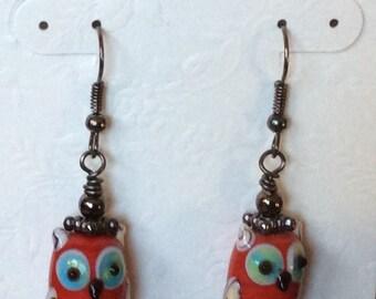 Glass Hooty Owl Earrings