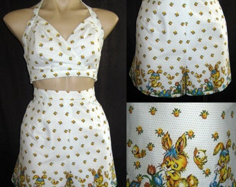 Shorts and Halter Top Set Vintage Bunny Print Cotton Fabric Lined Size Small - Medium