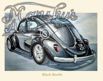 VW Beetle art print a real classic car in black.