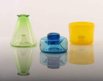 Australian handmade blown glass, vase, tumbler and candle holder