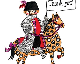 Thank you horseman greetings card