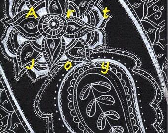 Sympathy Card, sympathy cards, Black card, Silver card, black paisley, paisley pattern, hand drawn, unique, black silver cards, silver black
