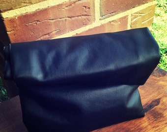 Leather Lunch Bag clutch. Leather lunch bag tote.Rolled over clutch purse.Lined,folding clutch lunch bag style with rivets.Leather lunch bag