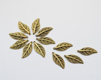 12 psc Antiqued Brass Leaf Charms, Pendants, Earring Findings