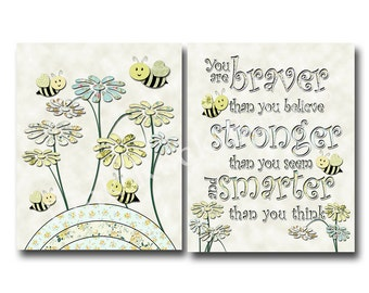 neutral nursery yellow bee baby girl room decor baby boy room decor winnie pooh quotes braver believe inspirational quote baby typography baby nursery cool bee