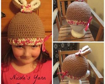 Crochet Chocolate Bunny Hat