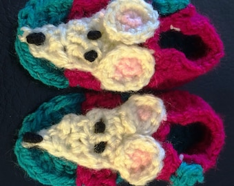 Crocheted Baby Sandals - Mouse