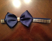 Navy, Gold Bow, Houndstooth headband