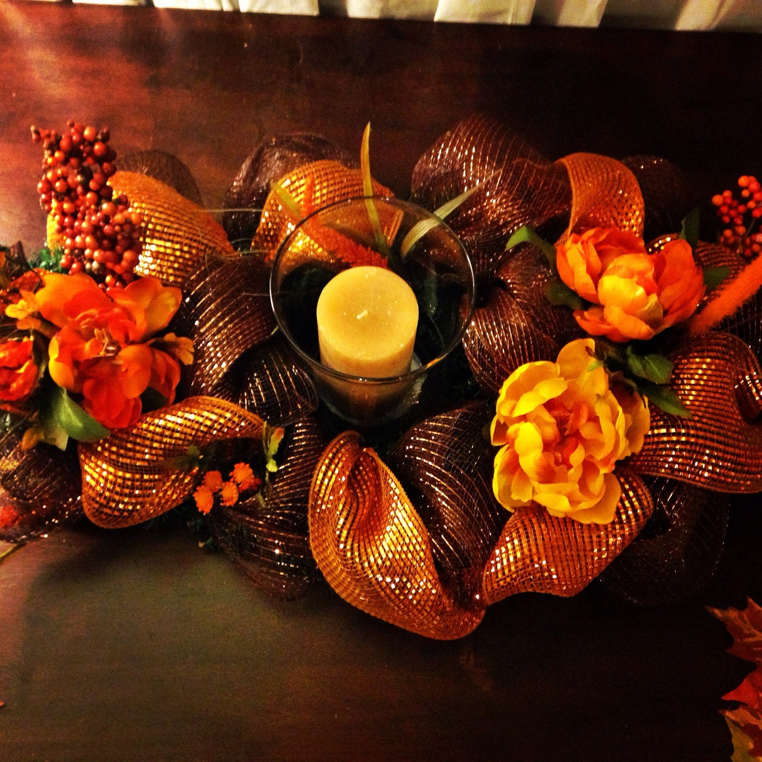 Fall deco mesh centerpiece by festiveflairdesigns on etsy