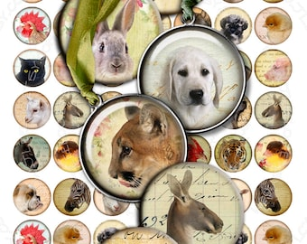 Digital collage sheet ANIMAL FRIENDS 1 inch circle - digital images puppies pendants magnet jewelry - instant download printable - tn268