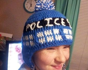 TARDIS inspired earflap hat