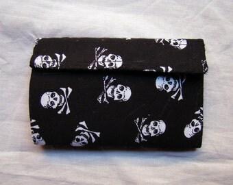 Skull and crossbones wallet fabric and felt purse - punky rock handbag - coin purse - billfold