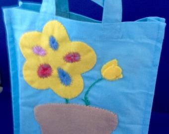 Childrens Cotton Bag,  Applique Felt Flower Pot