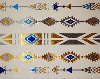 Turquoise Bracelets, Turquoise Metallic Tattoos, Pattern Bracelets, Gold Temporary Tattoos