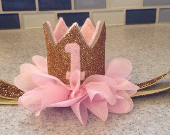 Pink gold crown headband, pink and gold birthday headband, pink gold crown headband, you choose colors, birthday crown headband, tiara