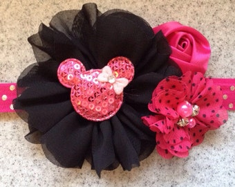 Minnie Mouse headband, hot pink Minnie Mouse headband, Minnie Mouse birthday headband, Minnie Mouse birthday headband