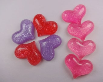 8pcs mixed Kawaii glitter heart cabochon for phone decoden