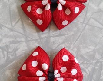 Two Red Polka Dot Hair Bows