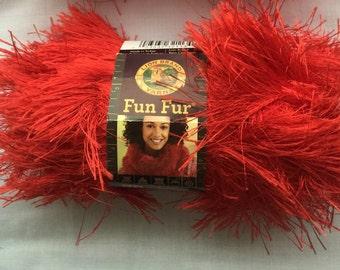 RED FunFur by Lion Brand Yarn   RED Eyelash Yarn  Novelty Yarns