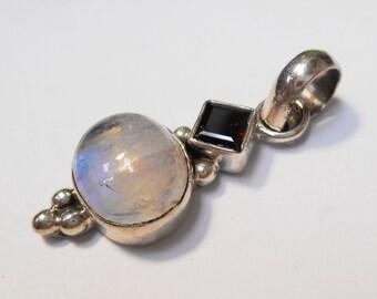 Sterling Pendant w/ Moonstone and Garnet Stones