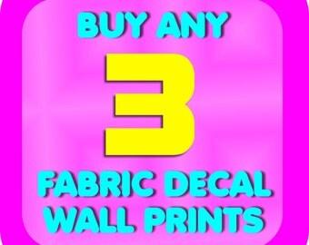 Reusable Wall Decal Print Any 3 FABRIC Print Sticker Picture Wall Sticker Art Peel n Stick Nursery Wall Bathroom Bedroom Home Wall Art Print
