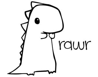 Cute Baby Dinosaur rawr Vinyl Decal