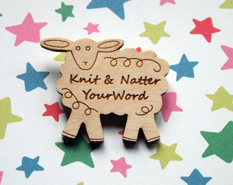 Personalised brooch in the shape of a sheep with words message of your choice