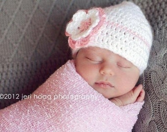 Baby Girl Beanie, Crochet Hat with Flower, Pink and White