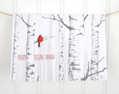 "Blank greeting card, 5x7 with envelope, red bird in birch trees or woods, art print ""Pilgrim Passing Through"" by Jeremy Vermilion"