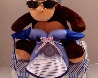 Baby Boy Diaper Tricycle; Baby Shower Diaper Cake; Baby Boy Shower Gift; Rock Star Baby Gift; Baby Shower Centerpiece; Monkey Baby Gift