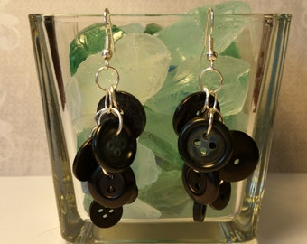 Shades of Black Button Earrings