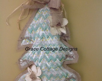 Christmas Tree Burlap Door Hanger, Hand-Made and Hand-Painted, Indoor Use Only. (Item # 3.3)