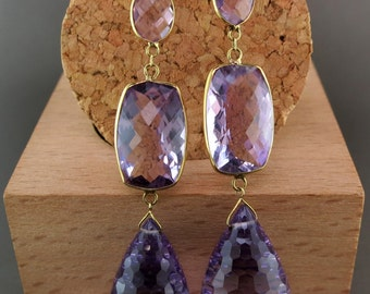 18 Karat Yellow Gold and Amethyst Dangle Earrings