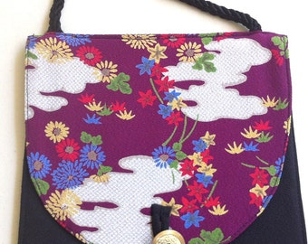 "SALE - Shoulder Purse ""Clouds"" In Japanese Fabric"