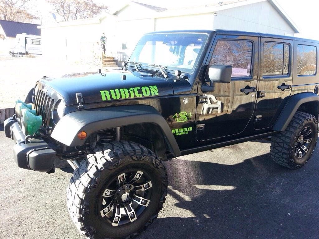 rubicon with army stencil font jeep wrangler hood side decals