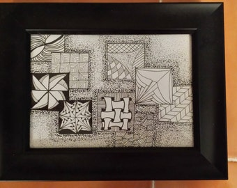 Tangled Squares Zentangle Inspired Picture